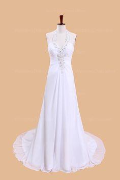 A-line Chiffon Sleeveless bridal gown  A-line/Princess, Floor Length, Dropped, Chapel Train, Halter, Sleeveless, Beading, Ruffles, Backless, Chiffon, Church, Garden/Outdoor, Hall, Spring, Summer,