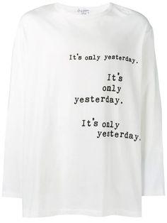 Yohji Yamamoto Slogan Print Long In White Deconstruction, Yohji Yamamoto, New Sign, Black Cotton, Slogan, Long Sleeve Tops, Women Wear, Fashion Design, Products