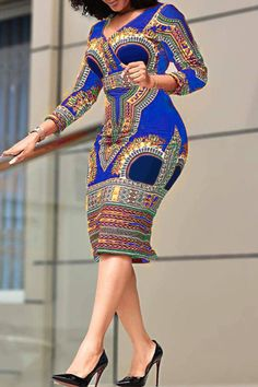V-Neck Three-Quarter Sleeve Mid-Calf Pullover Party/Cocktail Dress – Zolababi Best African Dresses, African Traditional Dresses, Latest African Fashion Dresses, African Print Fashion, African Attire, Africa Fashion, African Prints, Ankara Fashion, African Fabric
