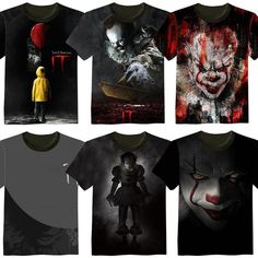 New Fashion Stephen King's It Horror Movie PennyWise Cotton T Shirt Cosplay High Quality Printed Pennywise Clown T Shirt Top Clown Horror Movie, Horror Movie T Shirts, Horror Movies, Custom Made T Shirts, Punk, Cosplay, New Movies, Cool Outfits, Tee Shirts