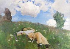 Eero Järnefelt - Saimi kedolla, Saimi in the Meadow - Eero Järnefelt Scandinavian Paintings, Art Database, Renaissance Art, Vincent Van Gogh, Oeuvre D'art, Les Oeuvres, Art History, Scenery, Art Pieces