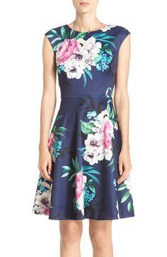 5708763cdbc53 Eliza J Floral Print Scuba Fit  amp  Flare Dress (Regular  amp  Petite)