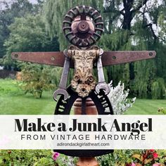 Get step by step instructions on how to create a rusty, crusty junk angel using vintage hardware, old chair legs, and some screws. Perfect for the garden. Metal Art Projects, Craft Projects, Welding Projects, Garden Junk, Garden Whimsy, Garden Sheds, Garden Angels, Scrap Metal Art, Junk Art