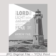 Confirmation, Baptism, Graduation Gift - Teen Personalized Bible verse Wall Art - Colors for Boy or Girl - Lighthouse Pop Art PRINTABLE Sign...$10