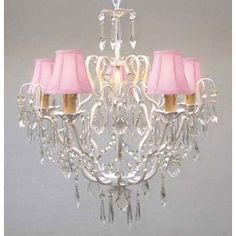 "New! IRON CRYSTAL CHANDELIER LIGHTING W/ PINK SHADES! H22"" x W21"" $114"