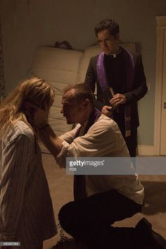 """Hannah Kasulka, Ben Daniels and Alfonso Herrera in the """"Chapter Five: Through My Most Grievous Fault"""" episode of THE EXORCIST airing Friday, Oct. 21 on FOX. Get premium, high resolution news photos at Getty Images The Exorcist Tv Show, Ben Daniels, Tv Series 2016, Tv Shows, Father, Couple Photos, Sexy, Blood, Ships"""
