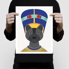 Neferkitty cat art print  egyptian queen kitten Nefertiti