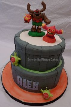 Skylanders Cake with Tree Rex, Eruptor, and some Chompies