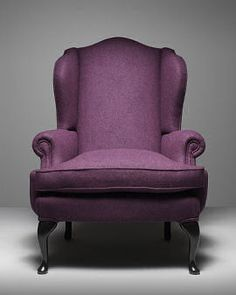 James Boswell high backed wing armchair in purple wool by Fleming & Howland