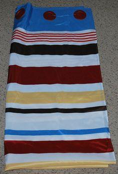 Hookless Bathroom Shower Curtain Stripes Blue Brown White Red Mustard Orange | eBay