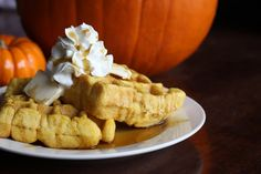 I'm a sucker for Belgian waffles, so pumpkin belgian waffles sounds amazing..perfect holiday treat!