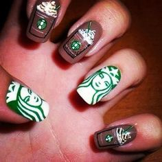 For the Barista in you, cute coffee (Starbuck) Nails. #nails