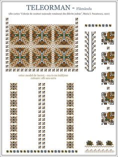 Semne Cusute: iie din MUNTENIA, Teleorman, Flamanda Folk Embroidery, Learn Embroidery, Embroidery Patterns, Cross Stitch Patterns, Machine Embroidery, Knitting Patterns, Art Patterns, Wedding Album Design, Palestinian Embroidery