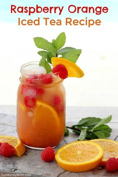 Raspberry Orange Iced Tea - Want an iced tea recipe that'll keep you cool all summer? This twist on raspberry iced tea made with Milo's Tea is perfect for hanging by the pool getting together with friends or any other fun summer celebration! Fruit Drinks, Smoothie Drinks, Healthy Drinks, Smoothie Recipes, Alcoholic Drinks, Cocktails, Cocktail Drinks, Sweet Tea Recipes, Iced Tea Recipes
