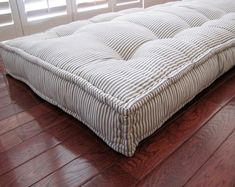 Custom Cushions, Blue Ticking Stripe, French Mattress Quilting, Hand Tufted Daybed Mattress, Window Seat or Bench Seat Cushion, Floor Pillow