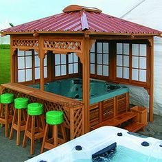 Gazebo w/ hot tub and bar w/ bar stools. Only minus the gazebo ; Hot Tub Privacy, Hot Tub Gazebo, Hot Tub Deck, Deck Gazebo, Hot Tub Bar, Hot Tubs, Casa Mix, Gazebos, At Home Spa