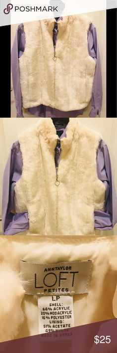 Ann Taylor loft petites Ann Taylor loft petite winter white vegan fur vest zips up the front and two side pockets excellent new condition Ann Taylor loft petites Jackets & Coats Vests