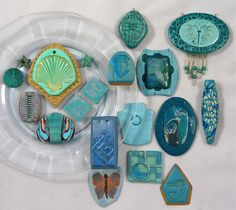 Polymer Clay Cabochons, Beads and Tiles in Teal and Turquoise Colors.
