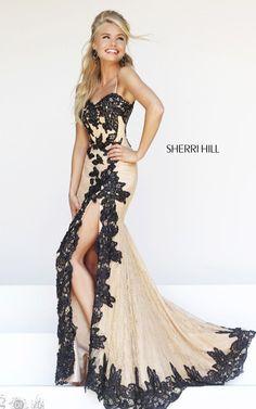 Black Nude Long Prom Dress Sherri Hill 9817