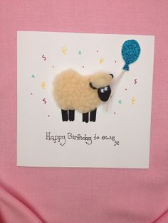 Happy birthday to ewe fluffy sheep card by ByClaireElaine on Etsy, £3.00