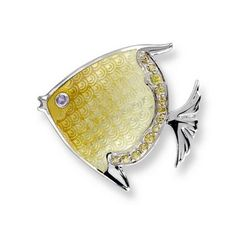 Nicole Barr Silver and White Sapphire Yellow Angelfish Enamel Brooch