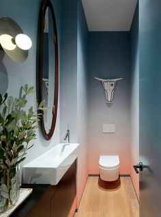 modern powder rooms Architecture and interior design firm Jamie Bush & Co. has transformed a modern townhouse spec home in San Francisco, California, and made it a welcoming home fo Cheap Bathroom Remodel, Cheap Bathrooms, Bathroom Ideas, Kitchen Remodel, Modern Bathroom Design, Modern House Design, Glass Handrail, Wc Decoration, Ombre Wallpapers