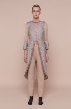 Aouadi | Spring 2016 Couture | 18 Grey embellished 3/4 sleeve tunic and beige trousers (front)