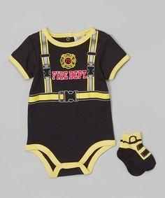 Loving this Black Firefighter Bodysuit & Socks - Infant on #zulily! #zulilyfinds