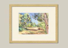 Pine Woods 2 ORIGINAL green landscape watercolor by CATILUSTRE
