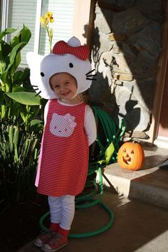 Kylie wanted to be Hello Kitty this year, but I wasn't sure how to make a great Hello Kitty costume. If she asks again next year I am so ready!