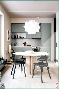 Ideas apartment kitchen table decor grey for 2019 City Apartment, Apartment Walls, Apartment Kitchen, Apartment Living, Apartment Design, Stockholm Apartment, Urban Apartment, Dining Room Design, Interior Design Kitchen