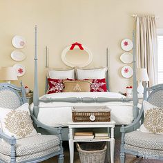 Updating your guest room for the holiday company has never been easier. Add a few holiday-themed throw pillows in front of your regular shams. Dress up plates hung on the wall with snowflake decals. Decals are easy to apply, adhere well, and can be quickly removedwith the heat from a hairdryer after Christmas./