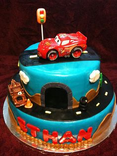 Two Tier Disney Cars Cake with lightning mcqueen on top. Disney Cars Cake, Disney Cars Birthday, Disney Cakes, 3rd Birthday Cakes, Boy Birthday Parties, Birthday Ideas, Cake Albums, Cakes For Boys, Cute Cakes