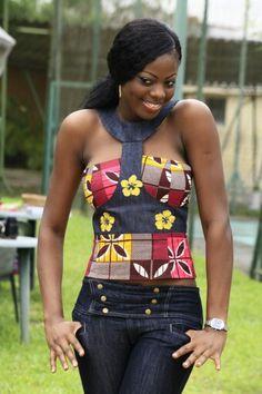 Top brode Denim Wax ~African fashion, Ankara, kitenge, African women dresses, African prints, Braids, Nigerian wedding, Ghanaian fashion, African wedding ~DKK