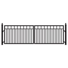 Sanibel 14 ft. W x 4 ft. H 8 in. Powder Coated Steel Dual Driveway Fence Gate, Black Powder Coated Finish To Ensure Durability For A Long Lasting/Maintenance Free Finish