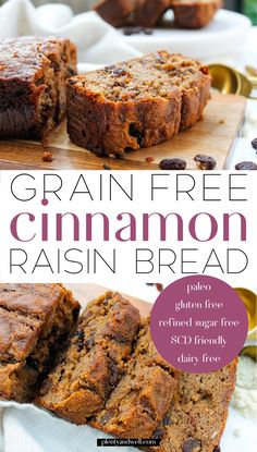 Paleo Cinnamon Raisin Bread This paleo cinnamon raisin bread is the perfect twist on a classic favorite! It's grain free, gluten free, dairy free, refined sugar free AND Specific Carbohydrate Diet friendly. Made from wholesome, real ingredients it's pe Gluten Free Baking, Gluten Free Desserts, Healthy Baking, Healthy Food, Gluten Free Sugar Free Bread Recipe, Gluten Free Grains, Healthy Gluten Free Bread, Healthy Sweet Treats, Gluten Free Grain Free Bread Recipe