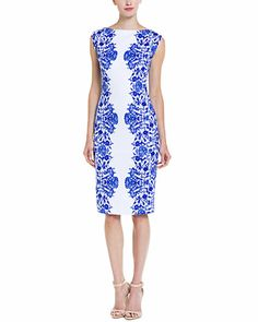 Marc Bouwer Hybrid Blue & White Lace Print Sheath Dress