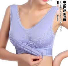 Munafie Cross Front Closure Lace Wireless Underwear Women Underwired Bra B538