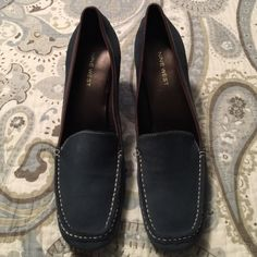 Nine West block heel loafers Nine West blue suede block heels.  Never worn.  No box.  Very comfortable.  Heel is approximately 3 inches. Nine West Shoes Flats & Loafers