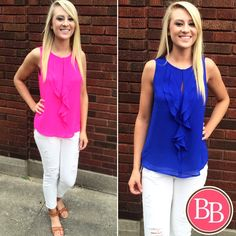 A little {ruffle} goes a long way!! This NEW ARRIVAL for Summer is LIVE at www.brandisboutiqueshop.co! ($29.99) #bbgirls #summer #ruffletime #ruffles #tank #bright