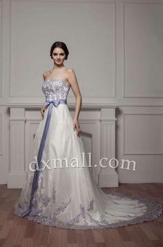 A-line Wedding Dresses Strapless Court Train Organza Satin Ivory 010010102686