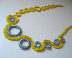 Silver and Lemon Yellow Silk Crochet Circles Necklace...love love love this!