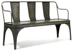 French Vintage Reproduction Art Deco Metal Cafe Bench - Asian - Benches - Kathy Kuo Home