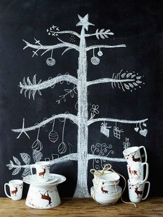 Chalkboard Christmas tree with wildlife cups