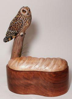 Miniature Short-eared Owl carving - Artwork by Tim McEachern.