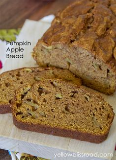 Not bad, doesn't have an overwhelming pumpkin flavor: Pumpkin Apple Bread