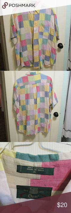 Vintage Colorblocked cotton shirt This is a great vintage find!  It has a small stain on the shoulder that is barely noticeable!  It's 100 percent cotton so great for summer!  Make an offer? Bundle to save! Orvis Shirts Casual Button Down Shirts
