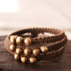 ON SALE Solid Bronze Beaded Bracelet  Wrapping by losttribedesigns, $99.75