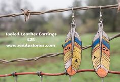 A personal favorite from my Etsy shop https://www.etsy.com/listing/269067763/tooled-leather-feather-earrings