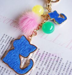 Horsehair Jelly Beads Cat Key Chain with Pompom Free shipping